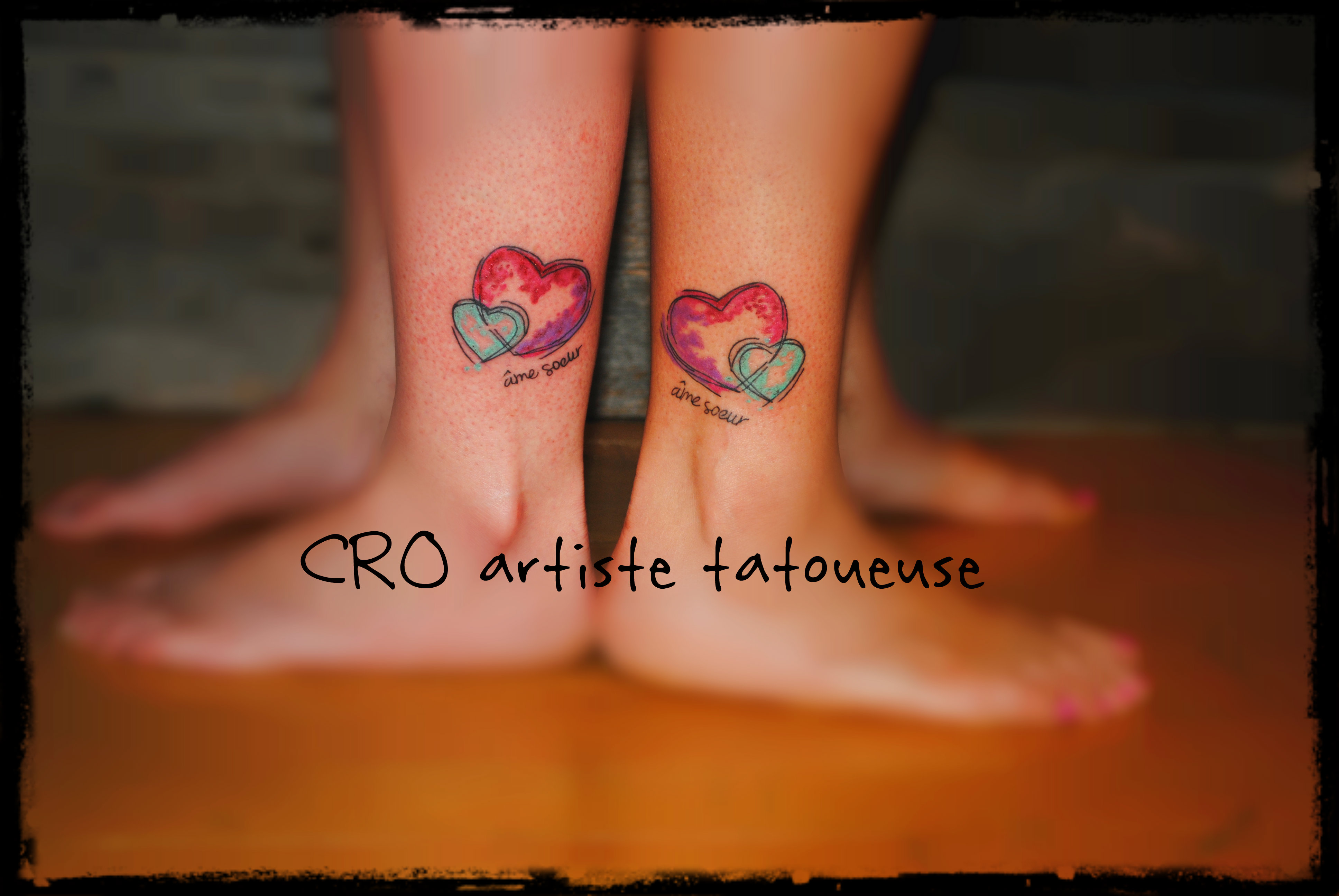 tattoo deux coeurs tattoo de soeur